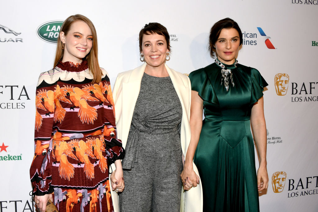 LOS ANGELES, CA - JANUARY 05:  (L-R) Emma Stone, Olivia Colman, and Rachel Weisz attend The BAFTA Los Angeles Tea Party at Four Seasons Hotel Los Angeles at Beverly Hills on January 5, 2019 in Los Angeles, California.  (Photo by Jon Kopaloff/Getty Images)