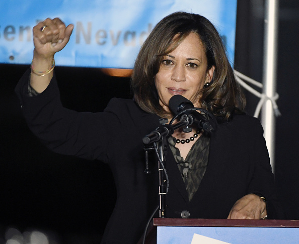 LAS VEGAS, NEVADA - NOVEMBER 02:  U.S. Sen. Kamala Harris (D-CA) speaks at a get-out-the-vote rally in support of U.S. Rep. and U.S. Senate candidate Jacky Rosen (D-NV) at First Friday in the Downtown Las Vegas Arts District as Harris campaigns for Nevada Democratic candidates on the final day of in-person early voting in Nevada on November 02, 2018 in Las Vegas, Nevada. Rosen is trying to unseat Republican Dean Heller in a tight race for senate.  (Photo by Ethan Miller/Getty Images)