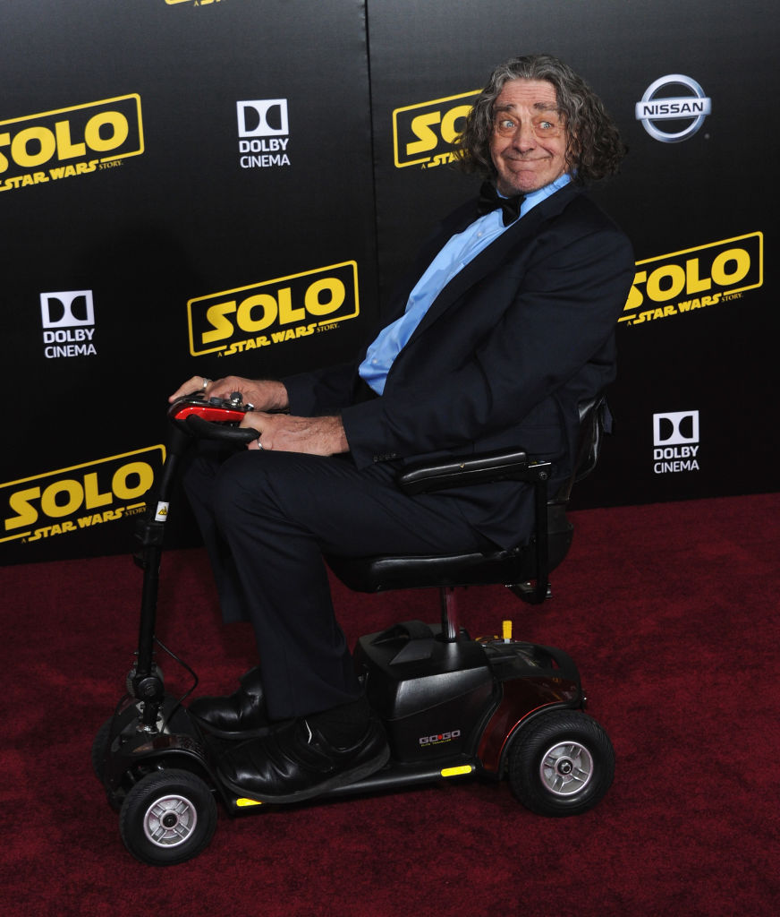 "LOS ANGELES, CA - MAY 10: Actor Peter Mayhew arrives for the Premiere Of Disney Pictures And Lucasfilm's ""Solo: A Star Wars Story"" held on May 10, 2018 in Los Angeles, California.  (Photo by Albert L. Ortega/Getty Images)"