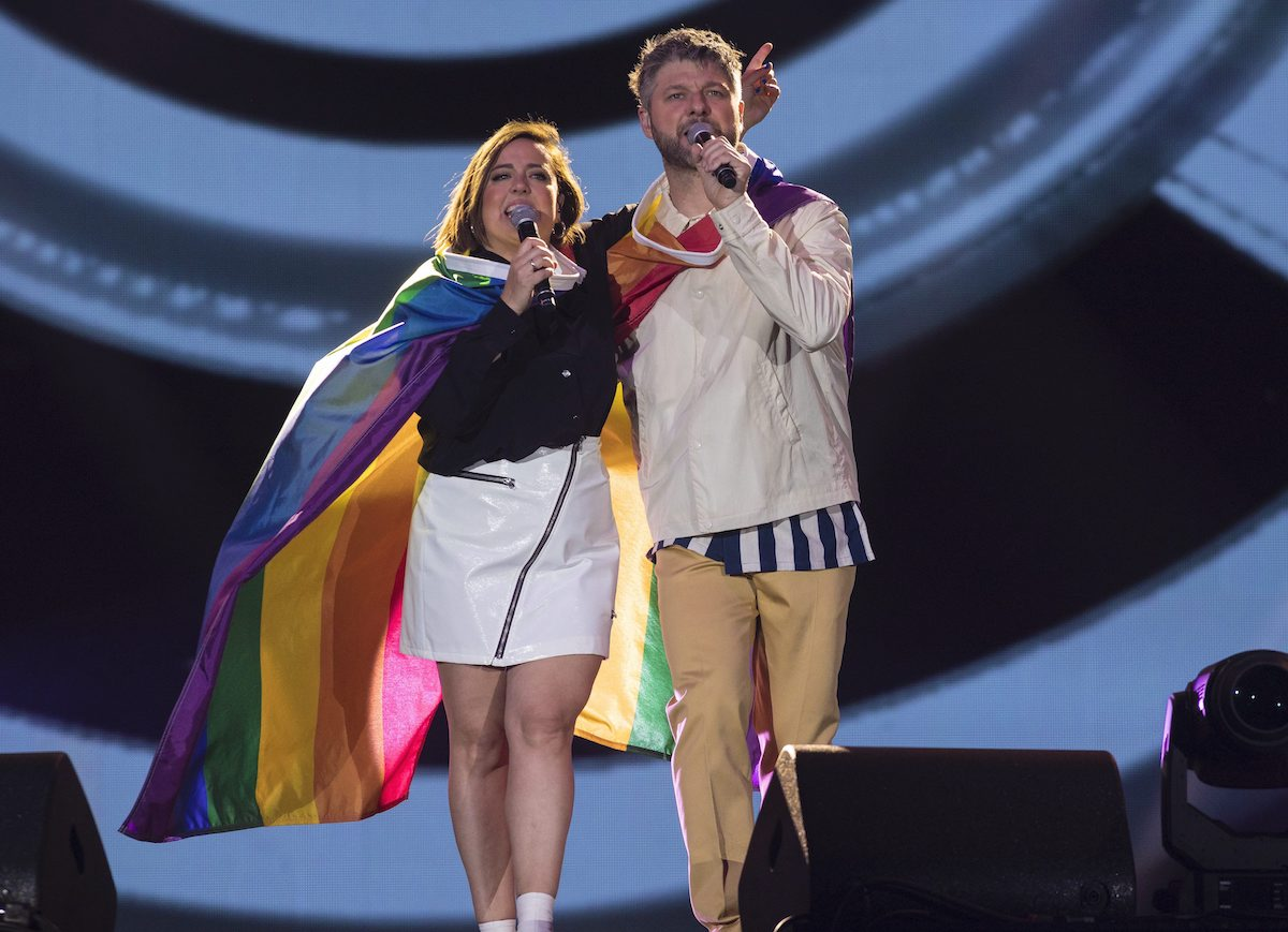 French-Canadian artists Arianne Moffatt (left) and Pierre Lapointe wear the LGBTQ flag on stage at the Fête Nationale du Québec show on the plains of Abraham in Quebec City on Sunday, June 23, 2019. The Fête Nationale du Québec, also known as the fête de la St-Jean-Baptiste, is Quebec National day. THE CANADIAN PRESS IMAGES/Francis Vachon